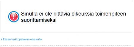 Elisan Tunnarin virheilmoitus Firefoxilla
